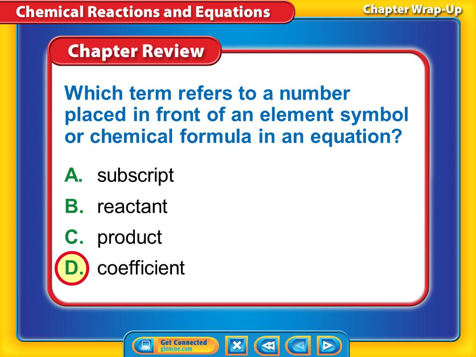 Which term refers to a number placed in front of an element symbol or chemical formula in an equation
