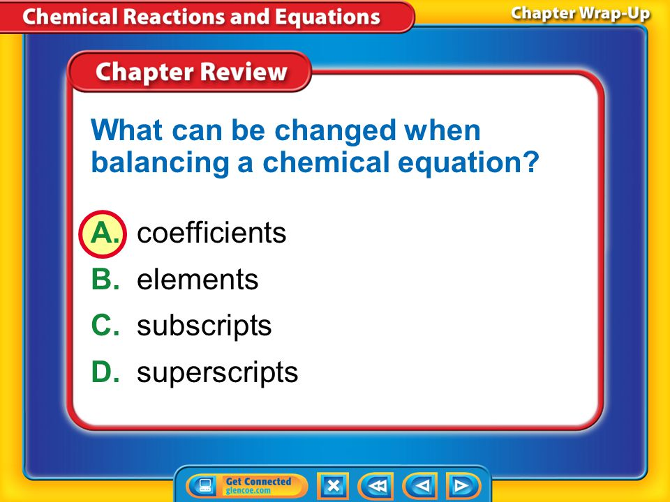 What can be changed when balancing a chemical equation