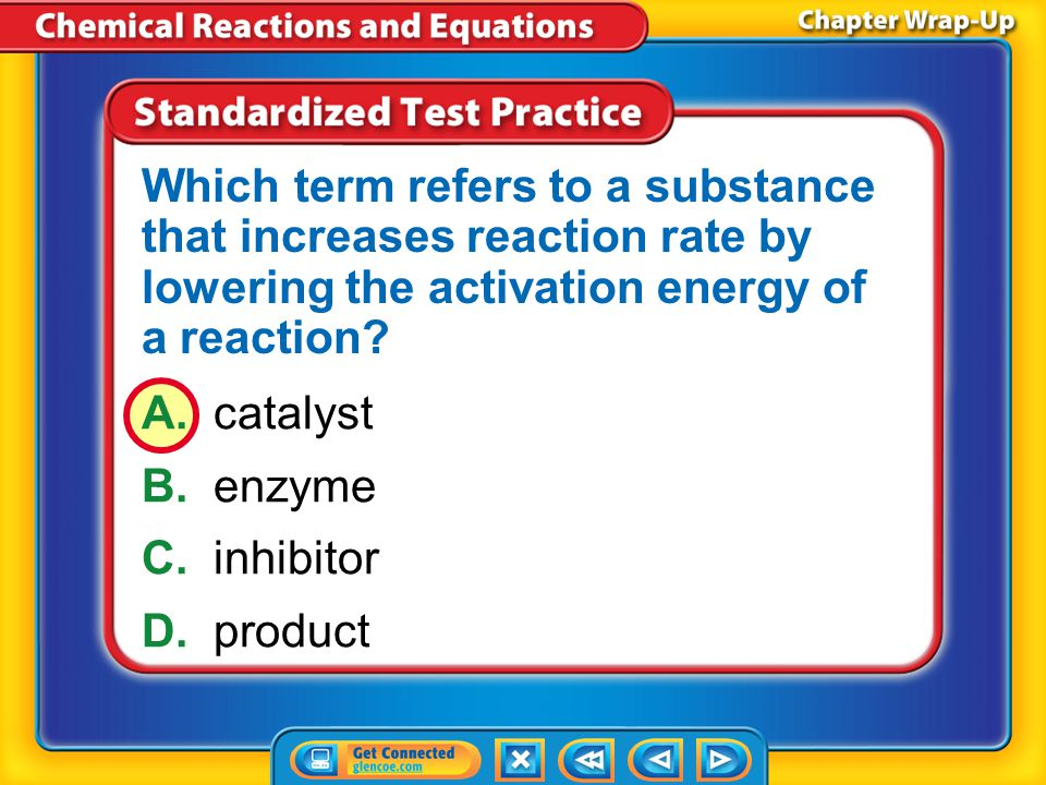 Which term refers to a substance that increases reaction rate by lowering the activation energy of a reaction
