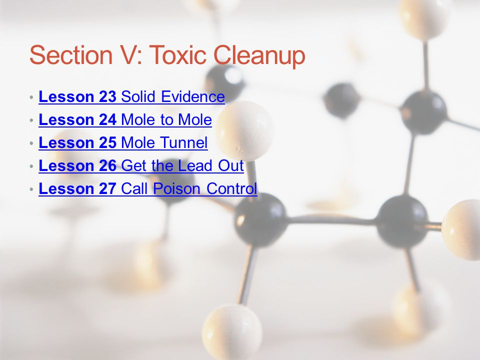 Section V: Toxic Cleanup