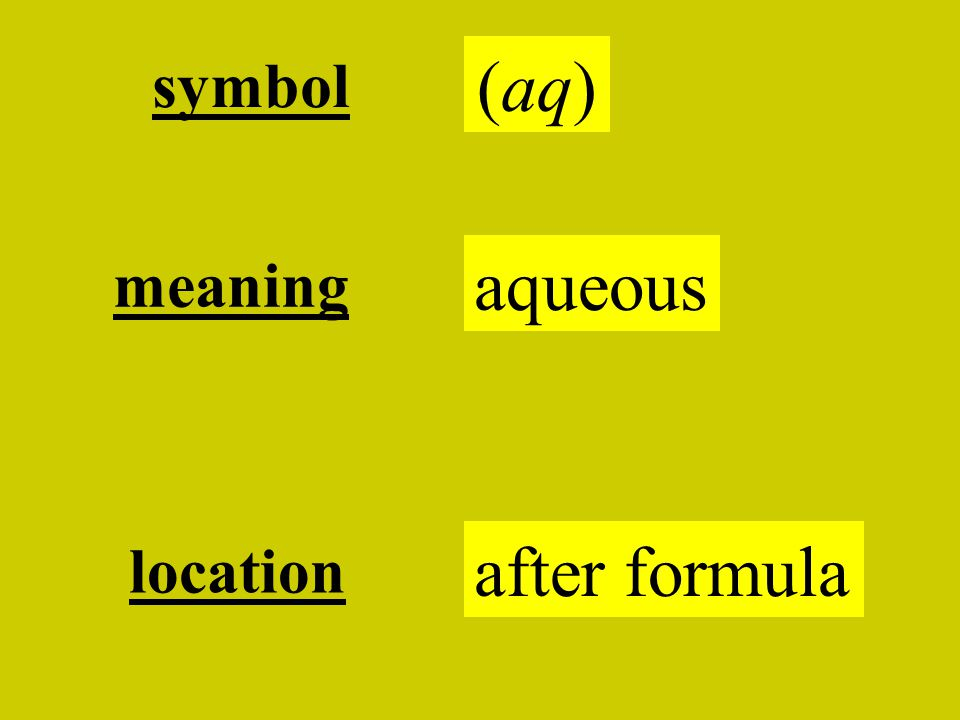 symbol (aq) aqueous meaning after formula location