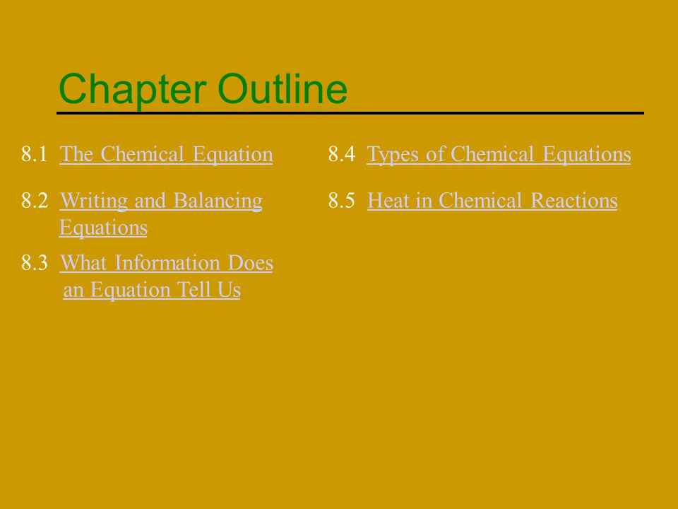 Chapter Outline 8.1 The Chemical Equation