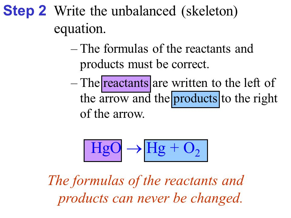 The formulas of the reactants and products can never be changed.