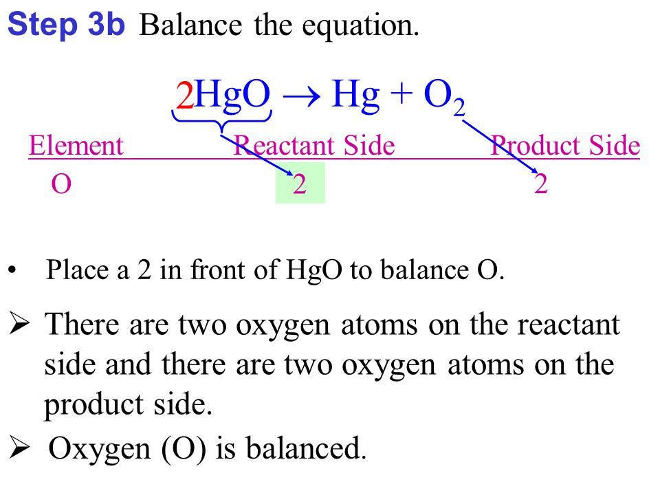 Element Reactant Side Product Side