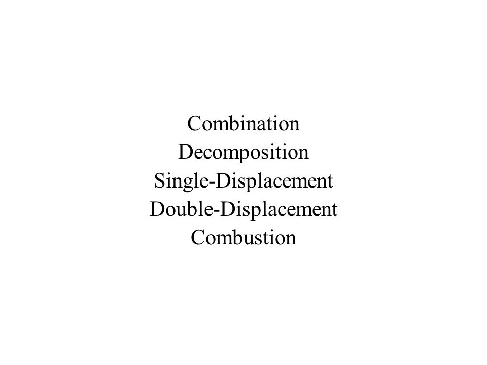Combination Decomposition Single-Displacement Double-Displacement Combustion