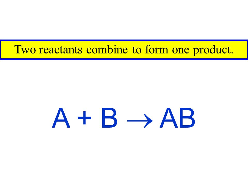 Two reactants combine to form one product.