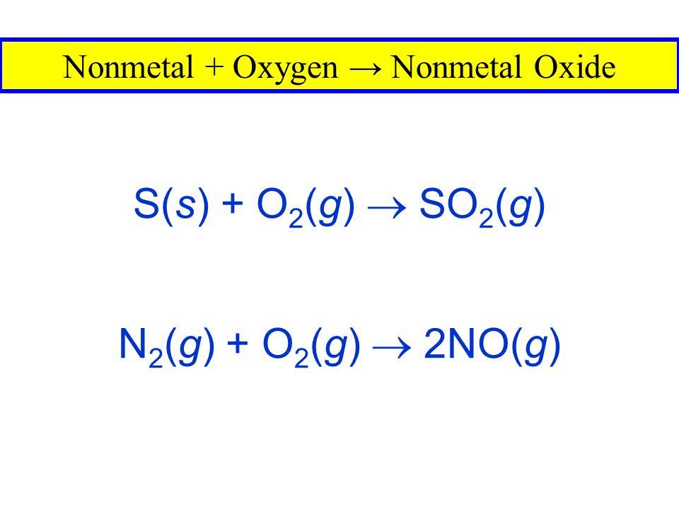 Nonmetal + Oxygen → Nonmetal Oxide