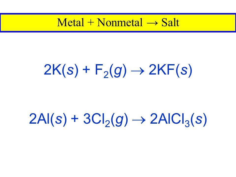 2K(s) + F2(g)  2KF(s) 2Al(s) + 3Cl2(g)  2AlCl3(s)