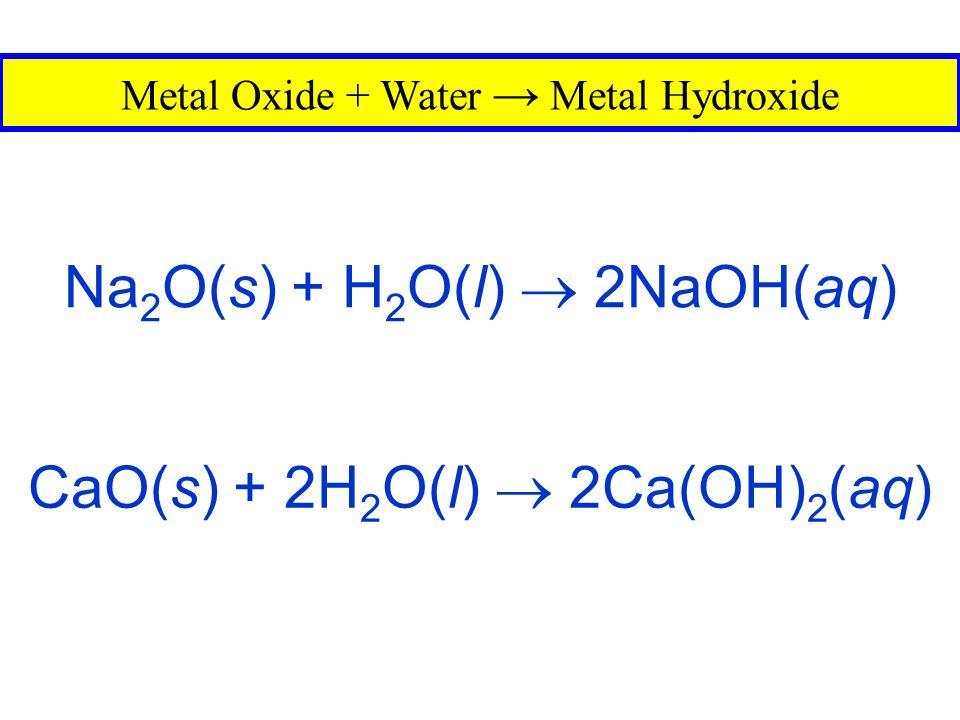Na2O(s) + H2O(l)  2NaOH(aq)
