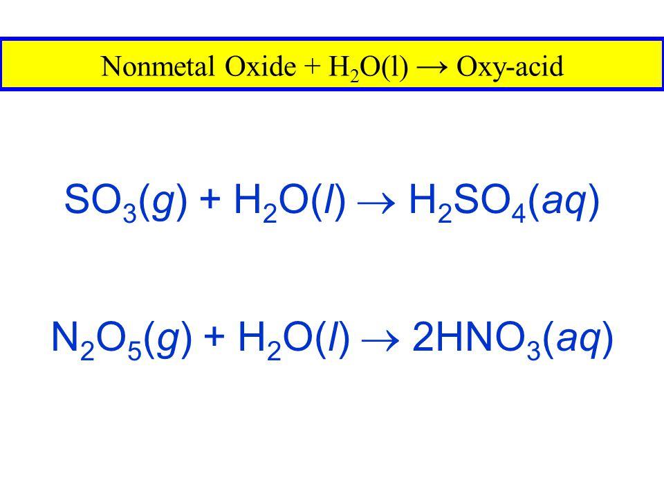 Nonmetal Oxide + H2O(l) → Oxy-acid