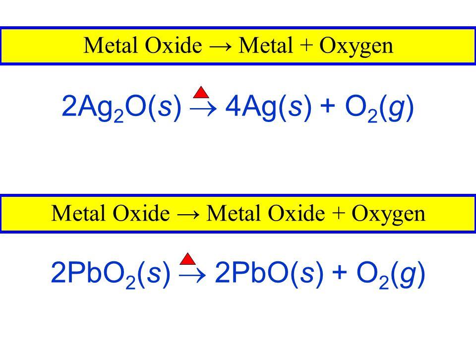 2Ag2O(s)  4Ag(s) + O2(g) 2PbO2(s)  2PbO(s) + O2(g)