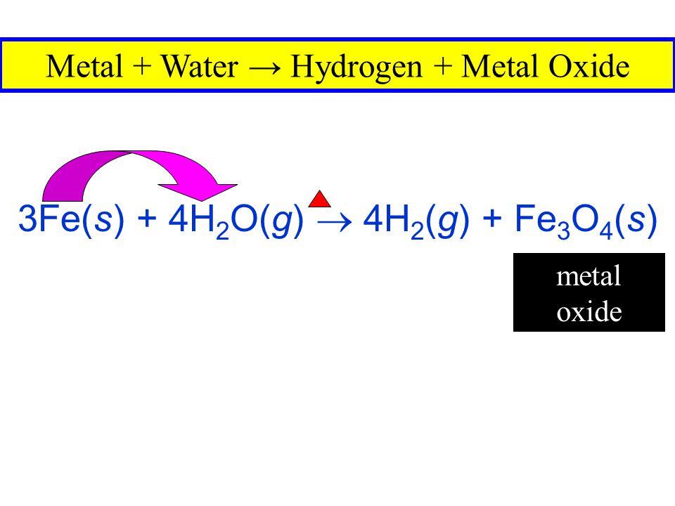 3Fe(s) + 4H2O(g)  4H2(g) + Fe3O4(s)