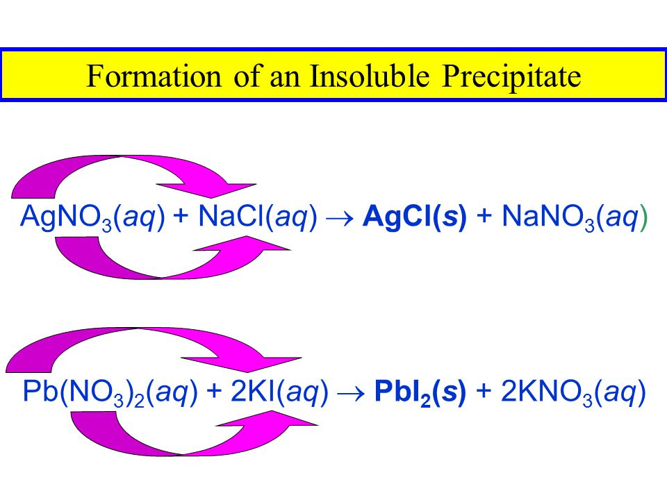 Formation of an Insoluble Precipitate