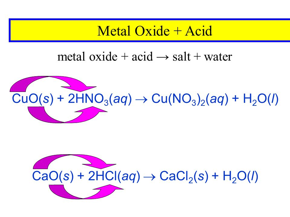 CaO(s) + 2HCl(aq)  CaCl2(s) + H2O(l)