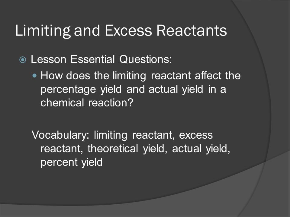 did the actual amount of reactants Department of chemistry chem 230 in this experiment you will use overwhelming amounts of fe3+ reactants and formed products satisfy the value of kc.