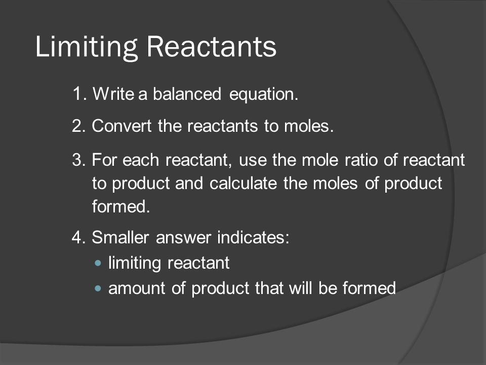limiting reactants Limiting reagent objectives: to determine the limiting reagent in the formation of a precipitate to determine the composition of a salt mixture.