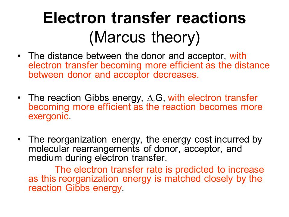 Electron transfer reactions (Marcus theory)