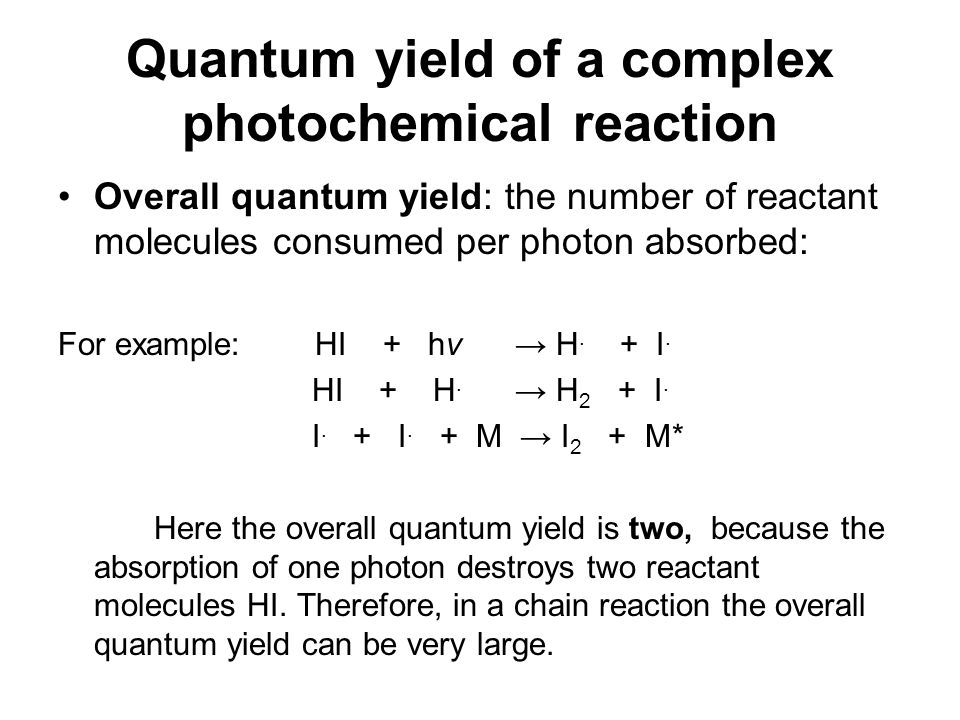 Quantum yield of a complex photochemical reaction