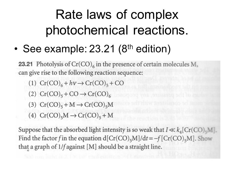 Rate laws of complex photochemical reactions.