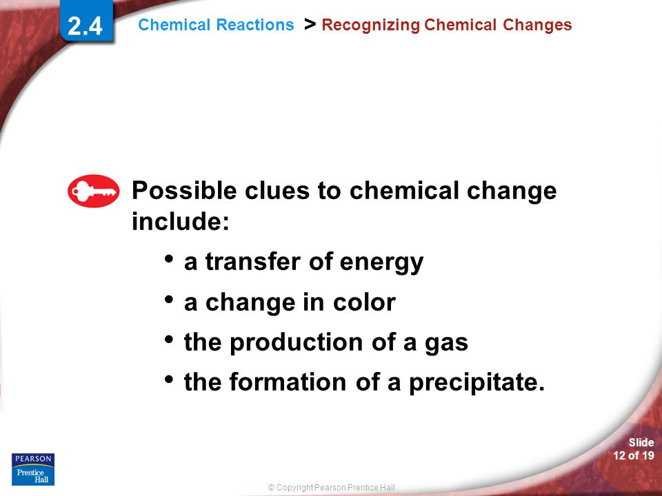 Recognizing Chemical Changes