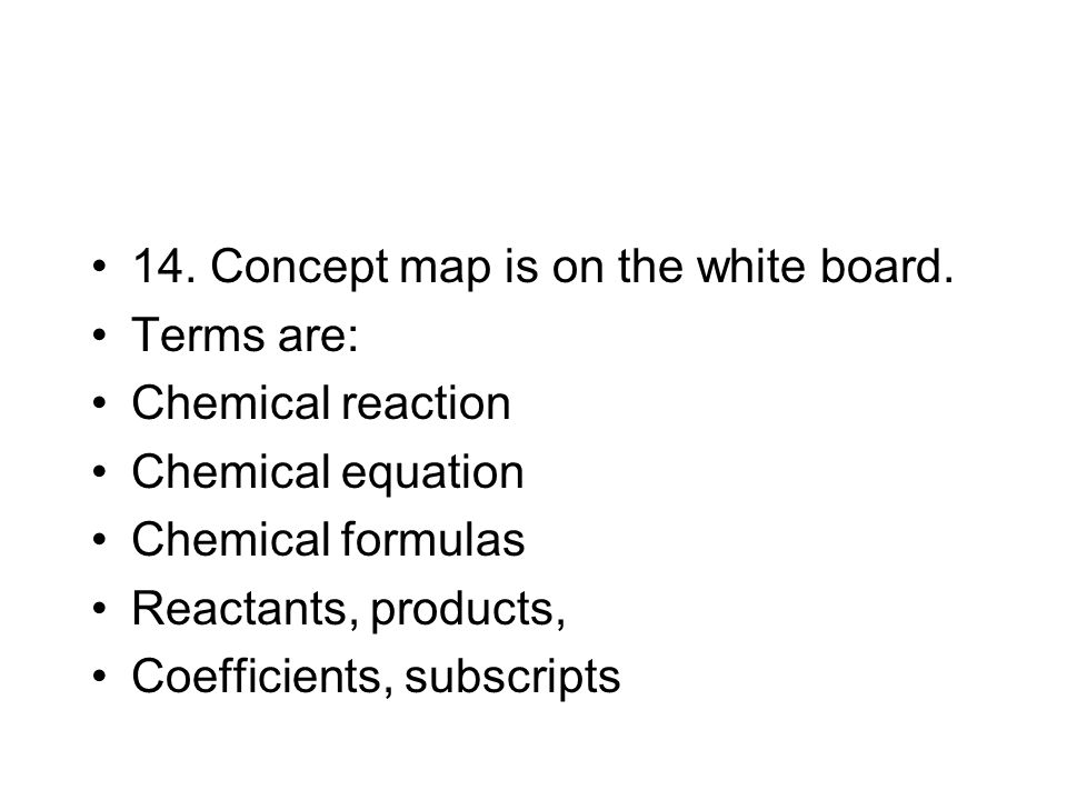 14. Concept map is on the white board.