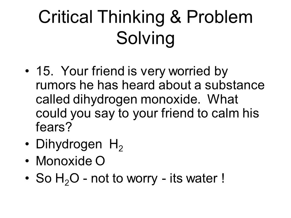 Critical Thinking & Problem Solving