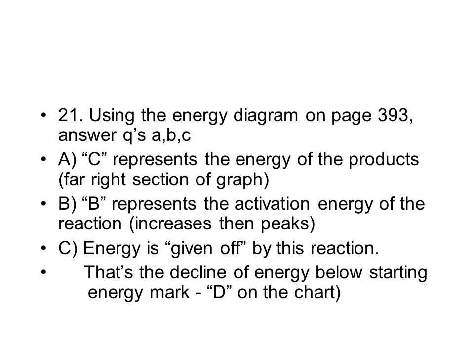 21. Using the energy diagram on page 393, answer q's a,b,c