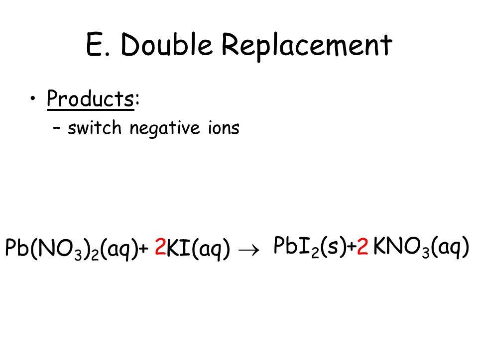 E. Double Replacement 2 2 PbI2(s)+ KNO3(aq) Pb(NO3)2(aq)+ KI(aq) 