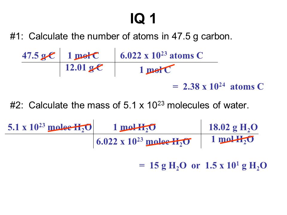 IQ 1 #1: Calculate the number of atoms in 47.5 g carbon.