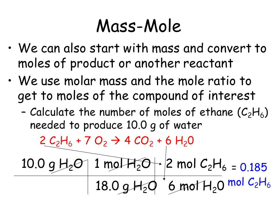 Mass-Mole We can also start with mass and convert to moles of product or another reactant.