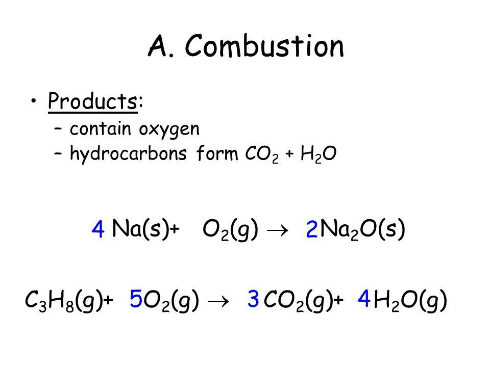 A. Combustion 4 2 Na(s)+ O2(g)  Na2O(s) C3H8(g)+ O2(g)  5 3 4