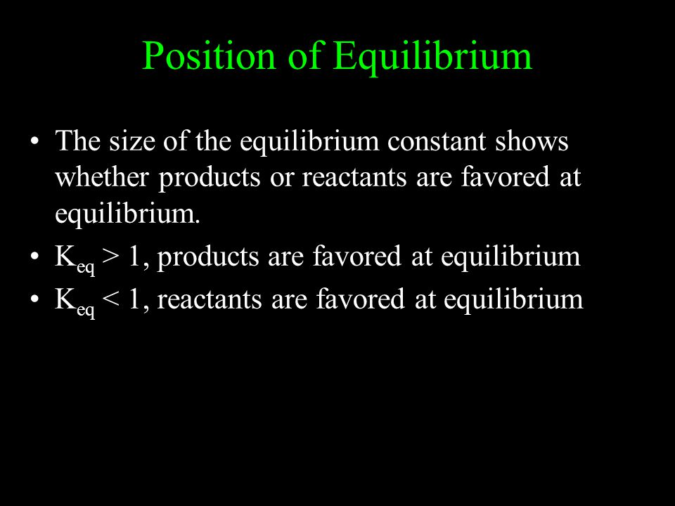 Position of Equilibrium