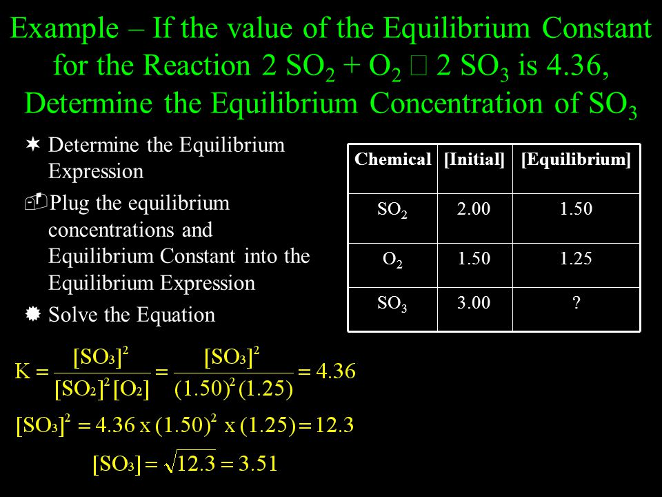 Example – If the value of the Equilibrium Constant for the Reaction 2 SO2 + O2 Û 2 SO3 is 4.36, Determine the Equilibrium Concentration of SO3