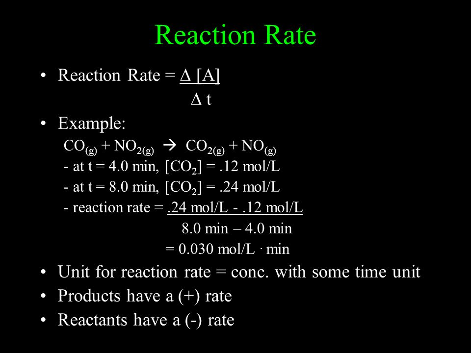 Reaction Rate Reaction Rate = ∆ [A] ∆ t Example: