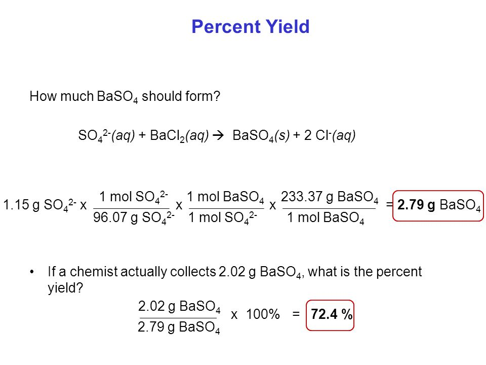 Percent Yield How much BaSO4 should form