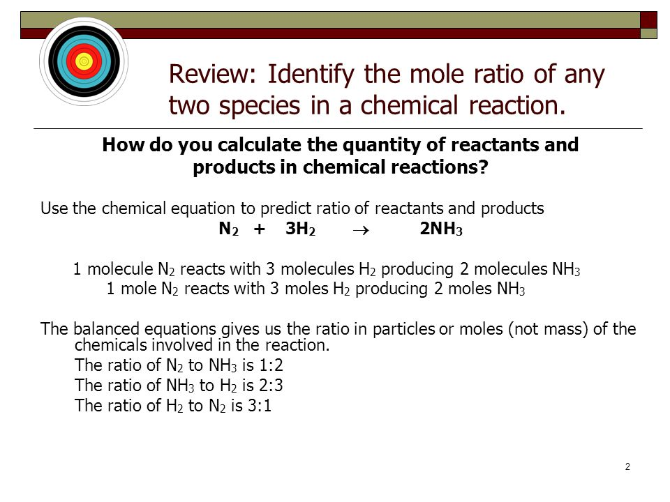 Review: Identify the mole ratio of any two species in a chemical reaction.