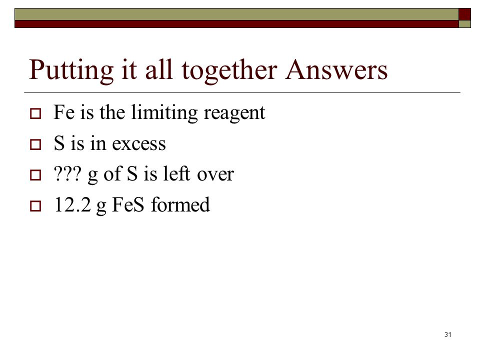 Putting it all together Answers