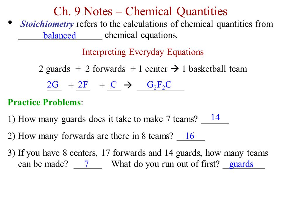 Ch. 9 Notes – Chemical Quantities