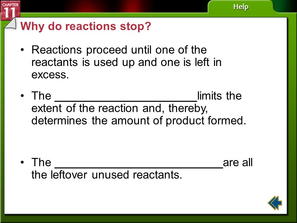 The __________________________are all the leftover unused reactants.