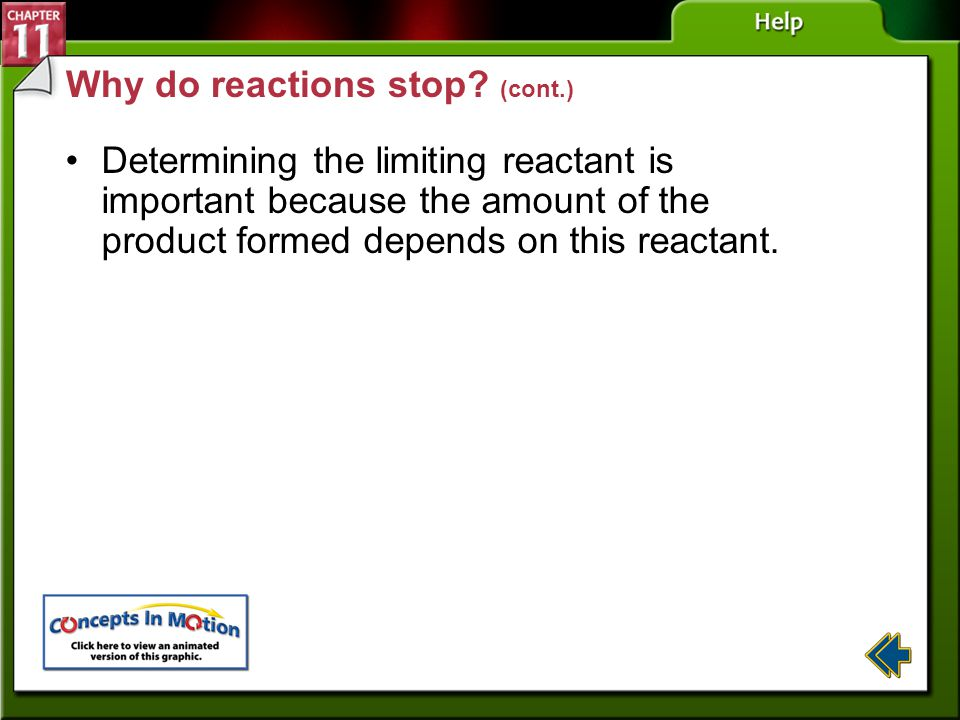 Why do reactions stop (cont.)