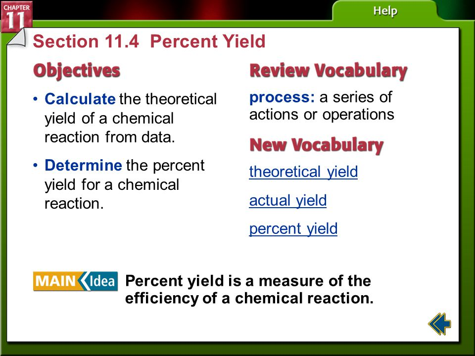 Section 11.4 Percent Yield Calculate the theoretical yield of a chemical reaction from data. process: a series of actions or operations.