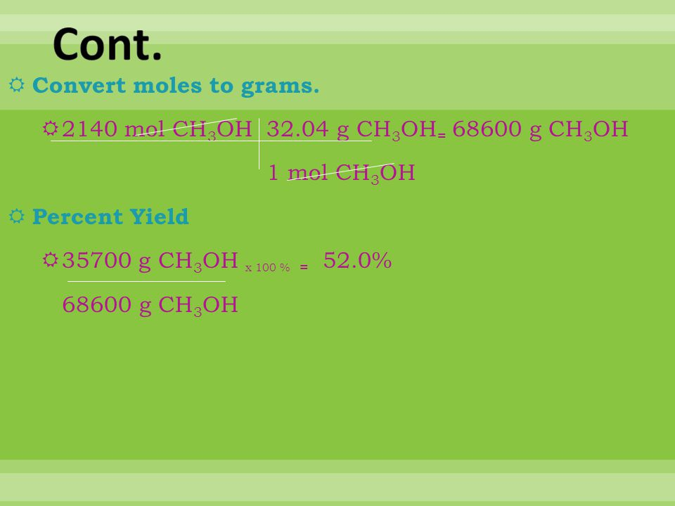 Cont. Convert moles to grams.