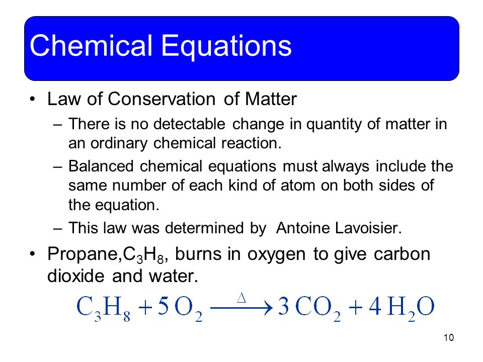 Chemical Equations Law of Conservation of Matter
