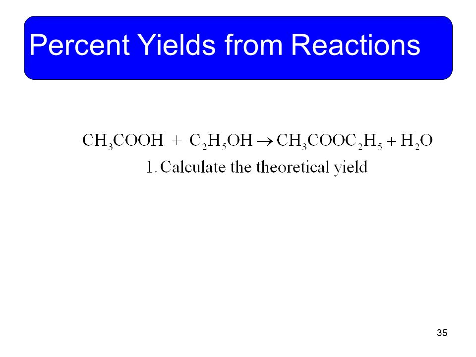 Percent Yields from Reactions