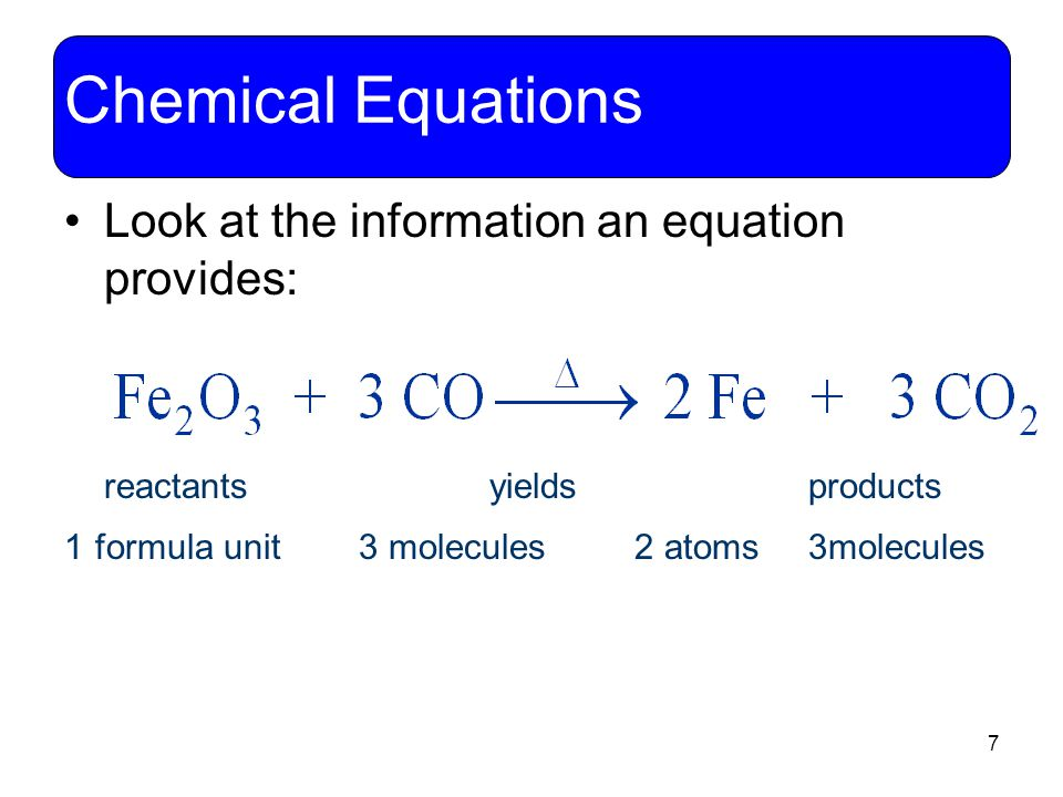 Chemical Equations Look at the information an equation provides: