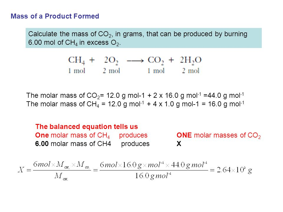 Mass of a Product Formed