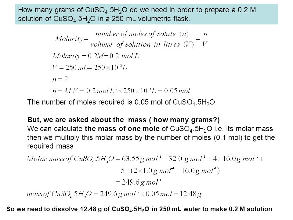 The number of moles required is 0.05 mol of CuSO4.5H2O