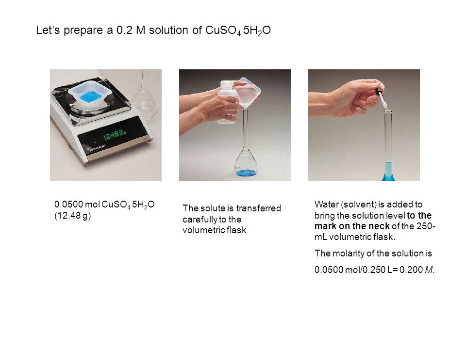 Let's prepare a 0.2 M solution of CuSO4.5H2O