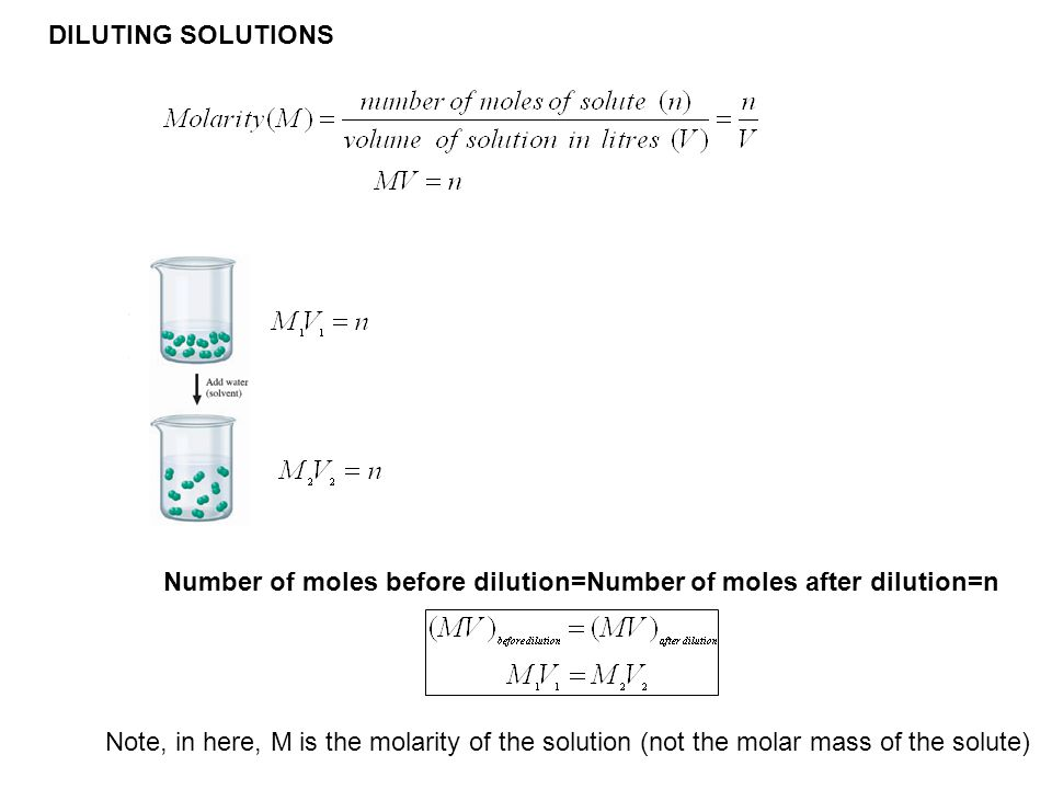 DILUTING SOLUTIONS Number of moles before dilution=Number of moles after dilution=n.