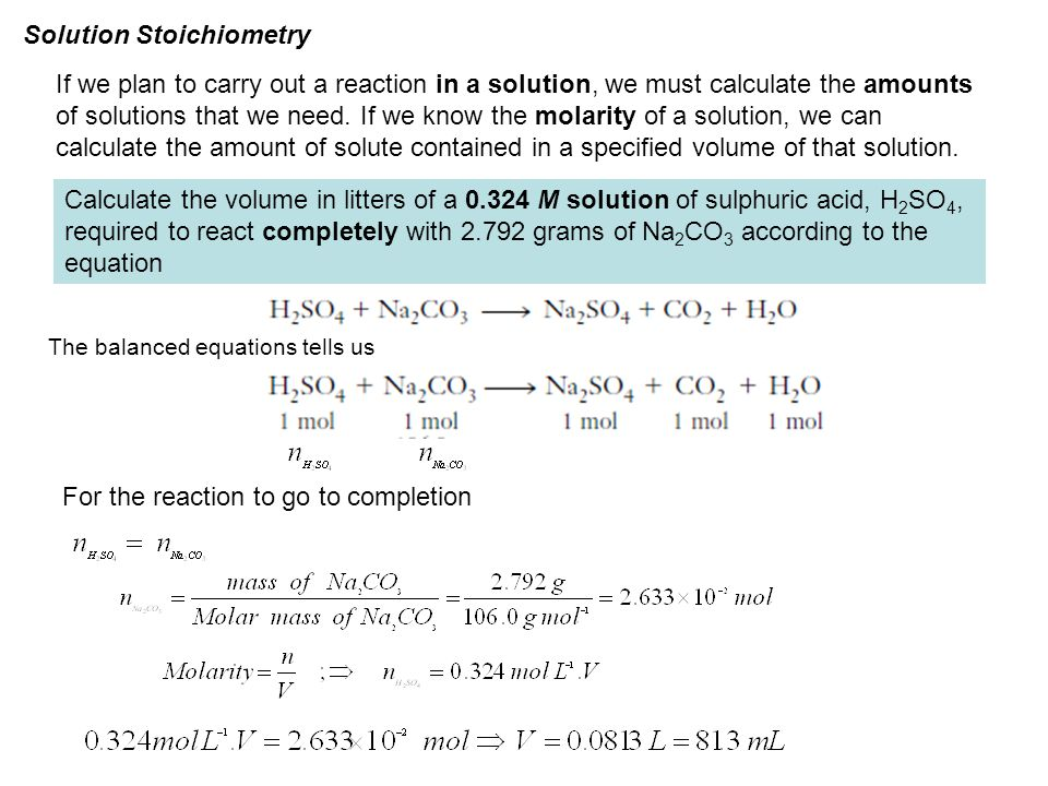 Solution Stoichiometry